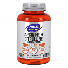 L-аргинин и цитруллин, Now Foods, L-Arginine & Citrulline, 500 \ 250 мг, 120 капсул