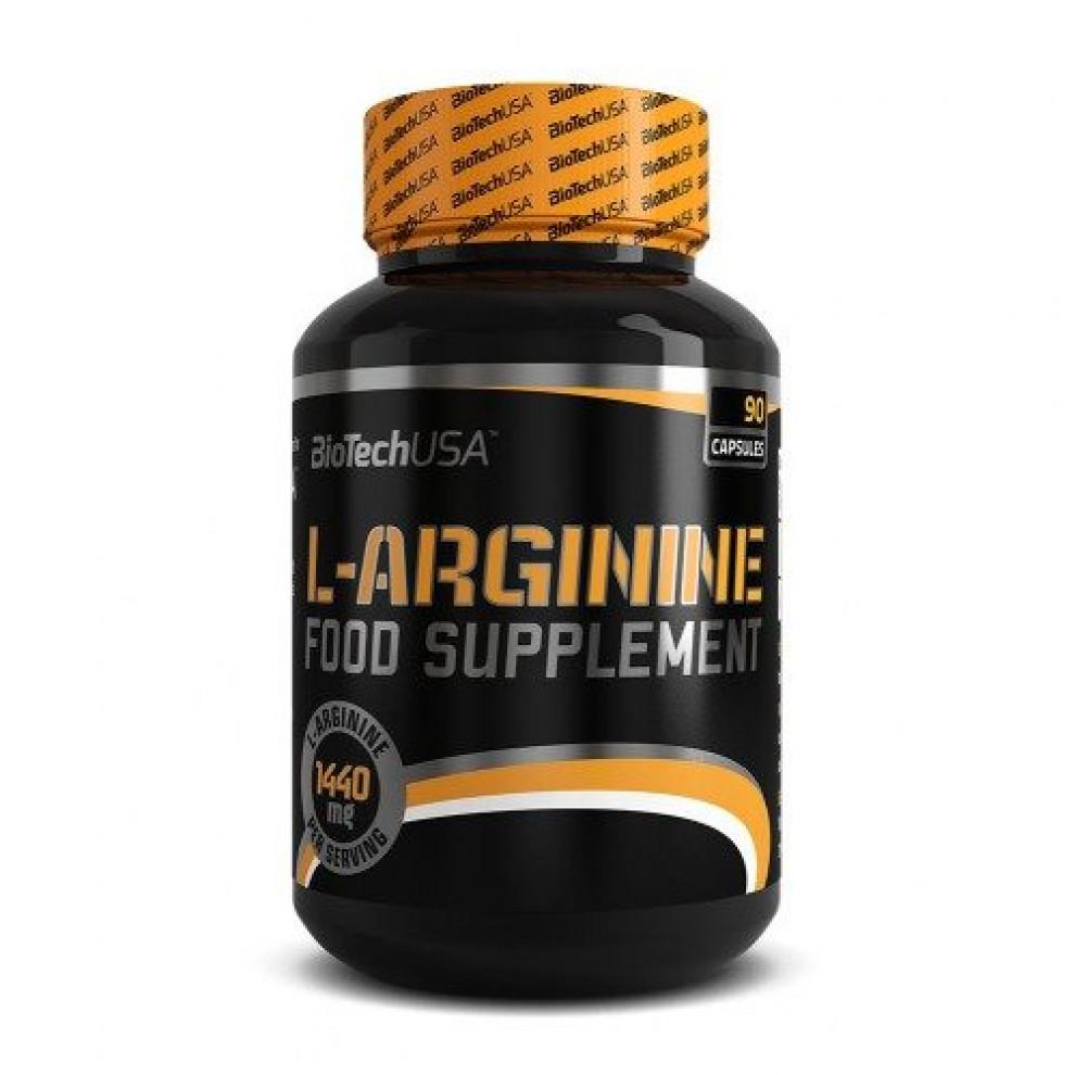 L-аргинин, BioTechUSA, L-arginine, 90 капсул, 1050 мг