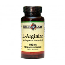 L-Аргінін, Form Labs, L-Arginine, 500 мг, 100 капсул