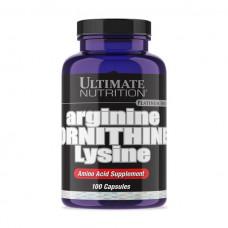 L-Аргинин, орнитин, лизин, UNT, L-Arginine, ornithine, lysine, 100 капсул