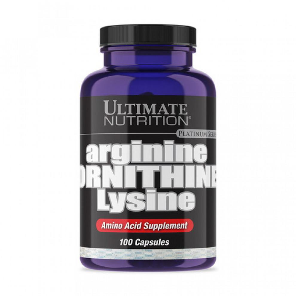 L-Аргінін, орнітин, лізин, UNT, L-Arginine, ornithine, lysine, 100 капсул