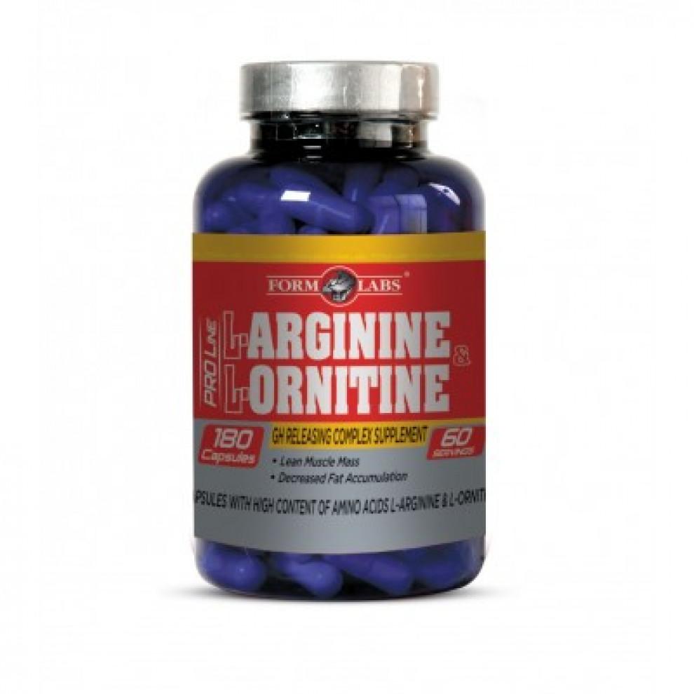 Аргинин с орнитином, Form Labs, L-arginine & L-ornitine, 180 капсул
