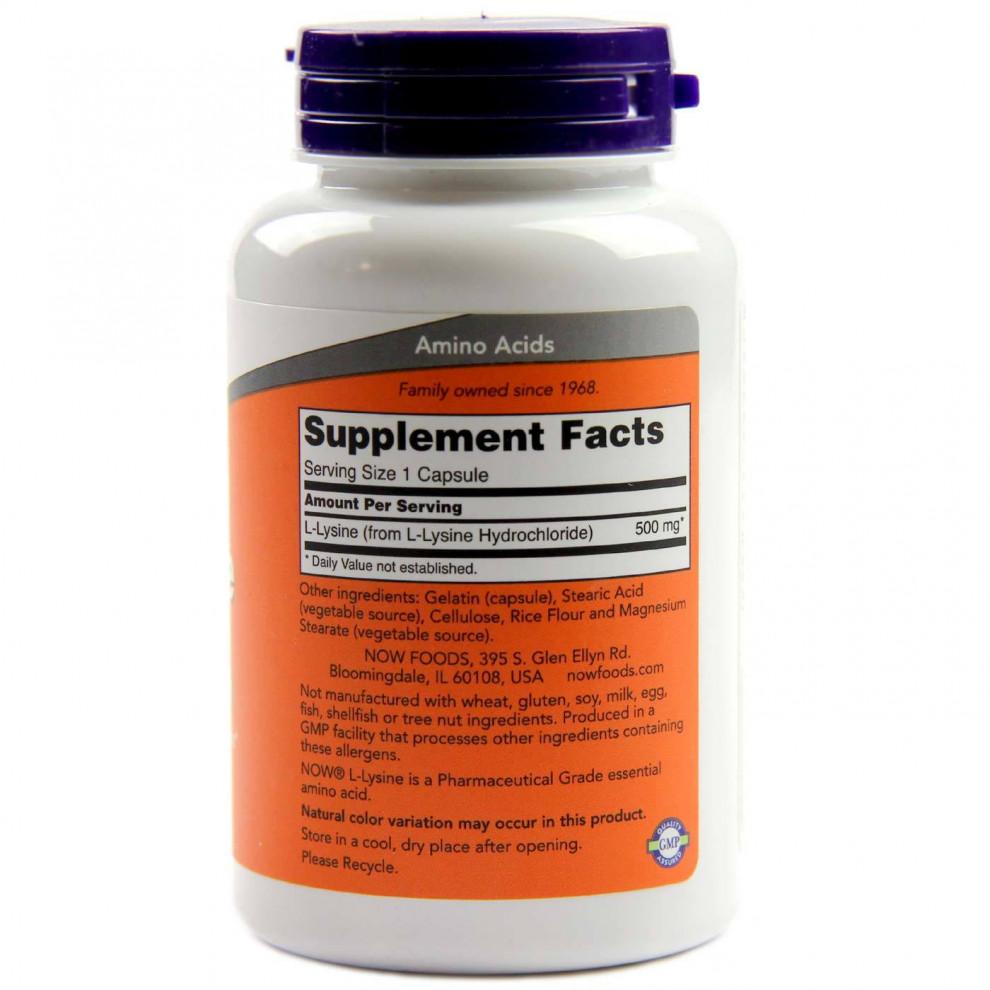 L-лизин, Now Foods, L-lysine, 500 мг, 100 капсул