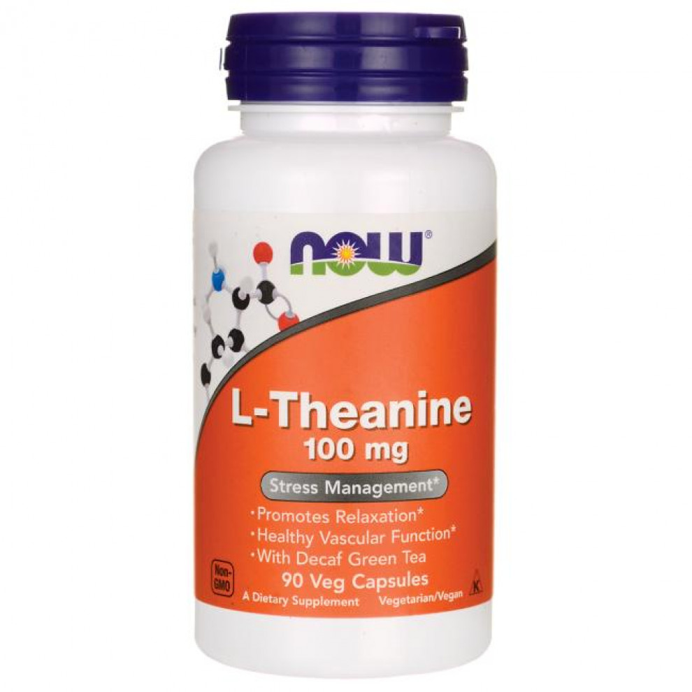 L-Тианин, Now Foods, L-Theanine, 100 мг, 90 капсул