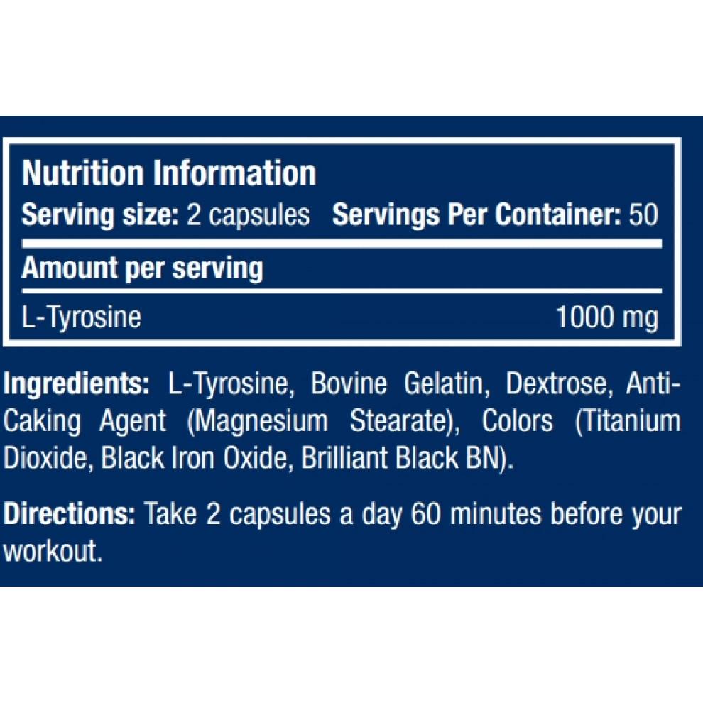 Тирозин, Scitec, Tyrosine, 1000 мг, 100 капсул
