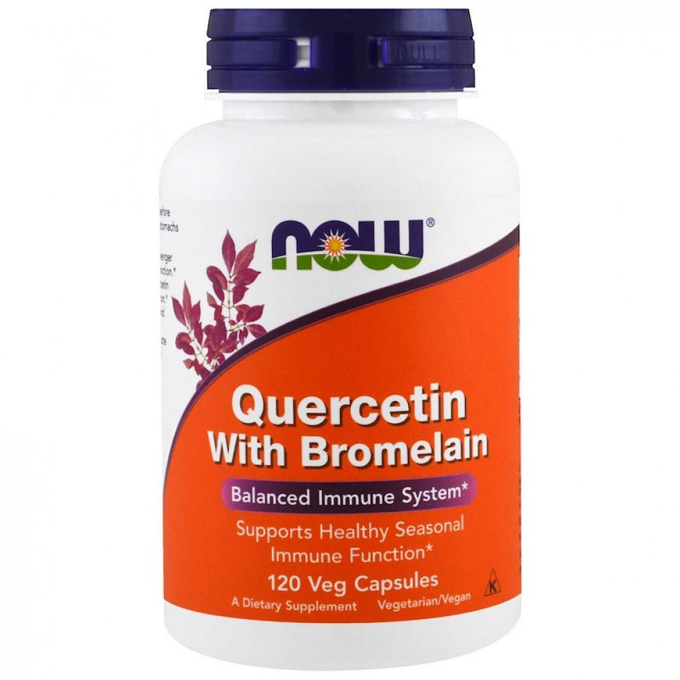 Кверцетин + бромелайн, Now Foods, Quercetin, 120 капсул