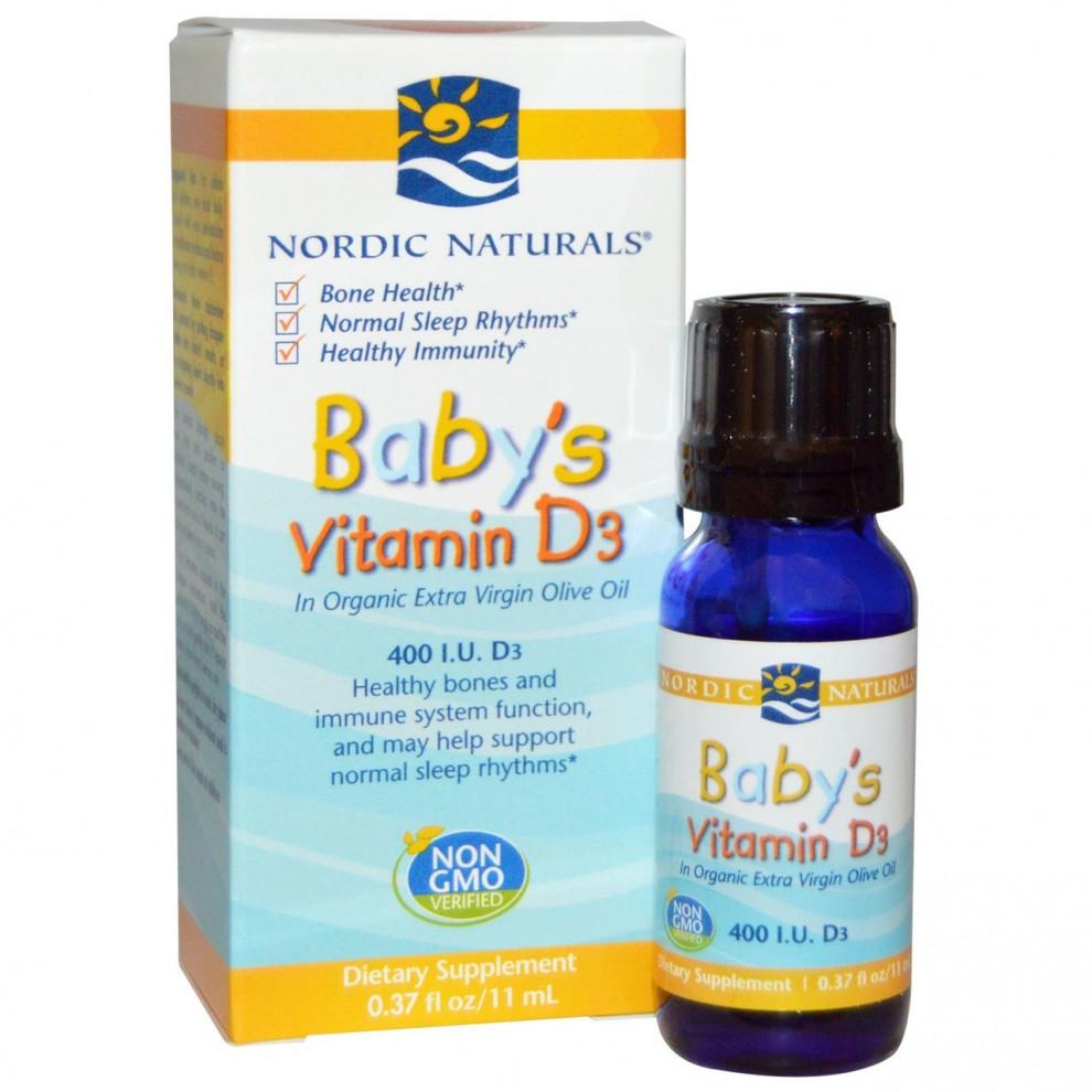 Вітамін D-3 для дітей, Nordic Naturals, Baby-D3, 400 IU, 11 мл