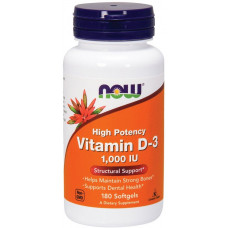 Витамин D-3, Now Foods, Vitamin D-3, 1000 IU, 180 капсул