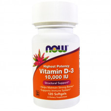 Витамин D-3, Now Foods, Vitamin D-3, 10000 IU, 120 капсул