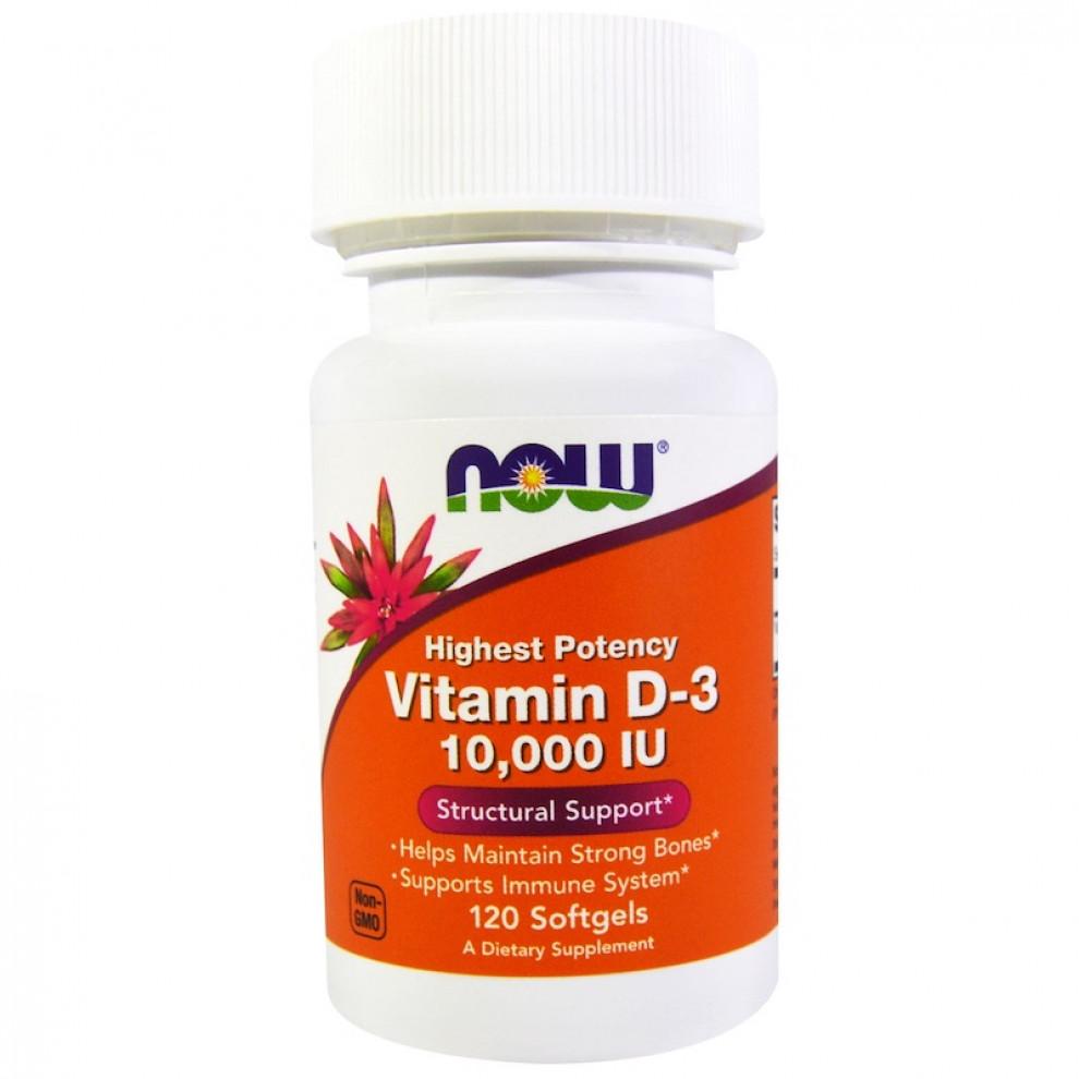 Витамин D-3, Now Foods, Vitamin D-3, 10000 IU, 120 капсул