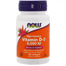 Витамин D-3, Now Foods, Vitamin D-3, 5000 IU, 120 капсул