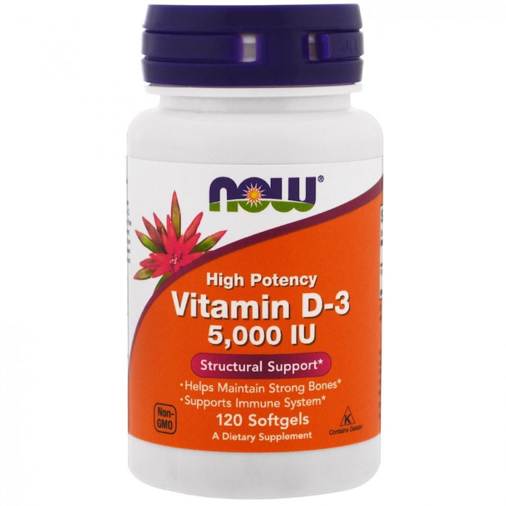Витамин D-3, Now Foods, Vitamin D-3, 5000 IU, 120 капсул