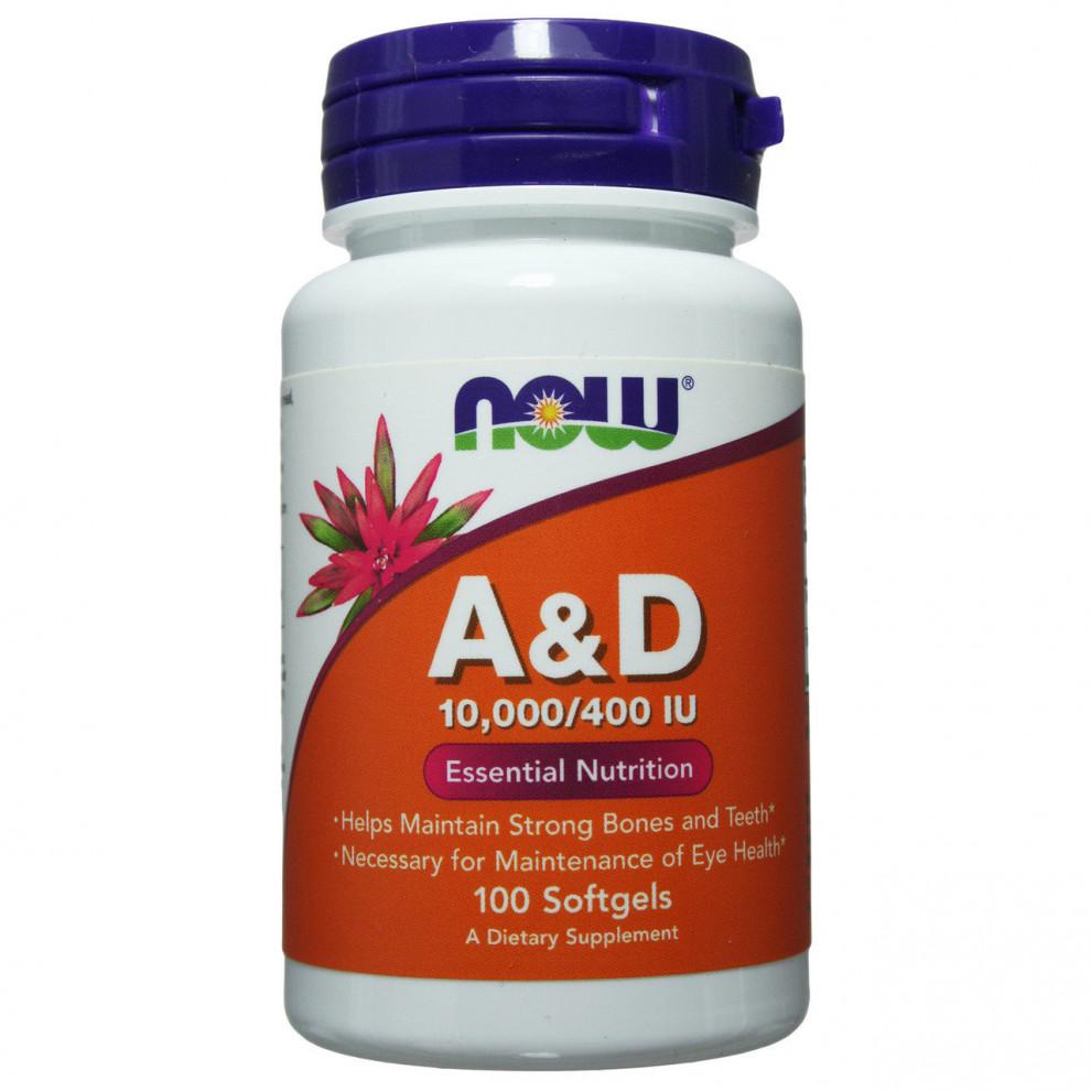 Витамин А с витамином D, Now Foods, Vitamin A 10000 IU & vitamin D, 400 IU, 100 капсул