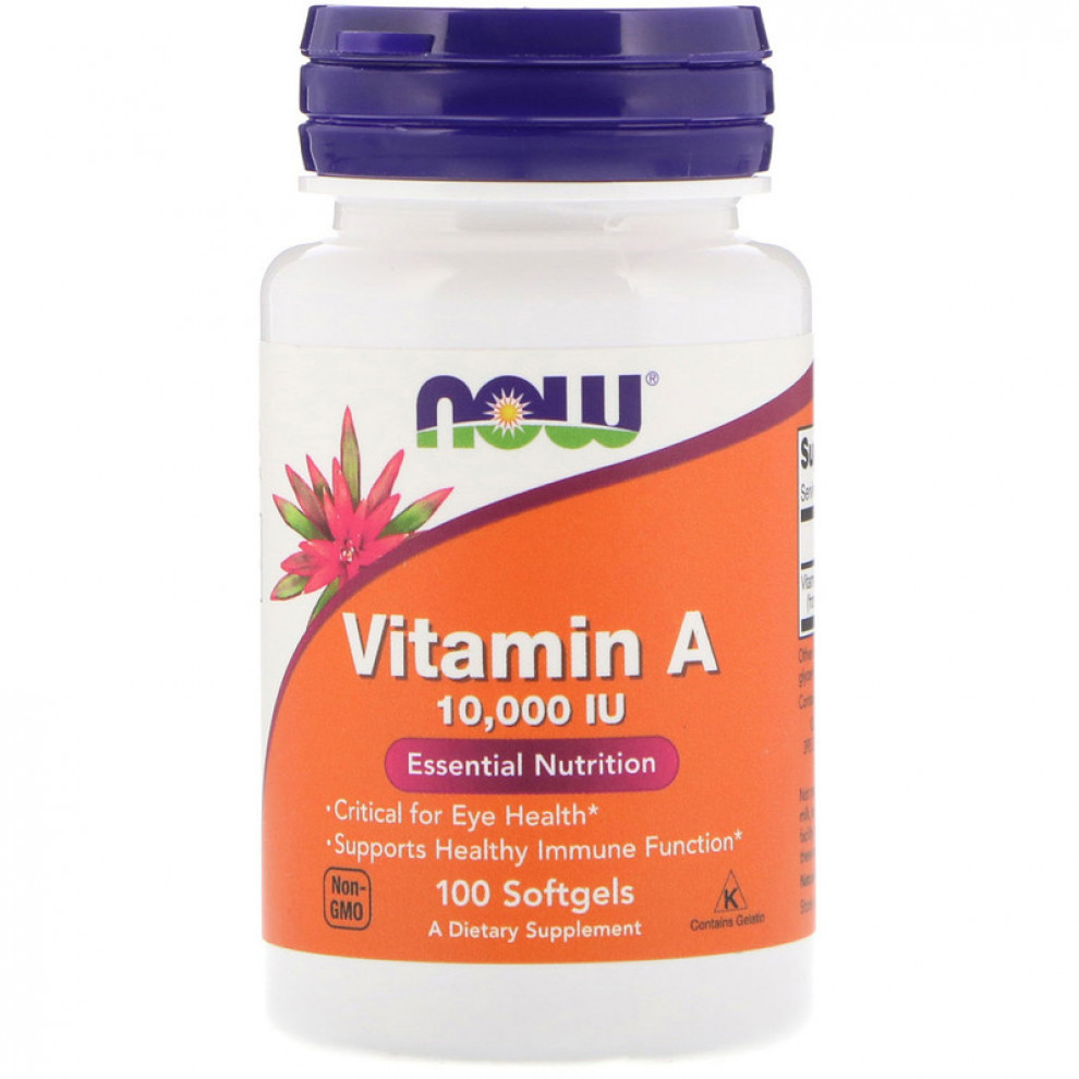 Витамин А, Now Foods, Vitamin A, 10000 IU, 100 капсул