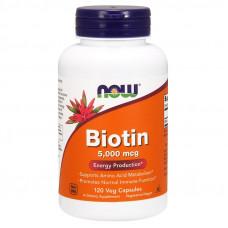 Біотин, Now Foods, Biotin, 5000 мкг, 120 капсул