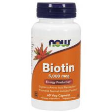 Біотин, Now Foods, Biotin, 5000 мкг, 60 капсул