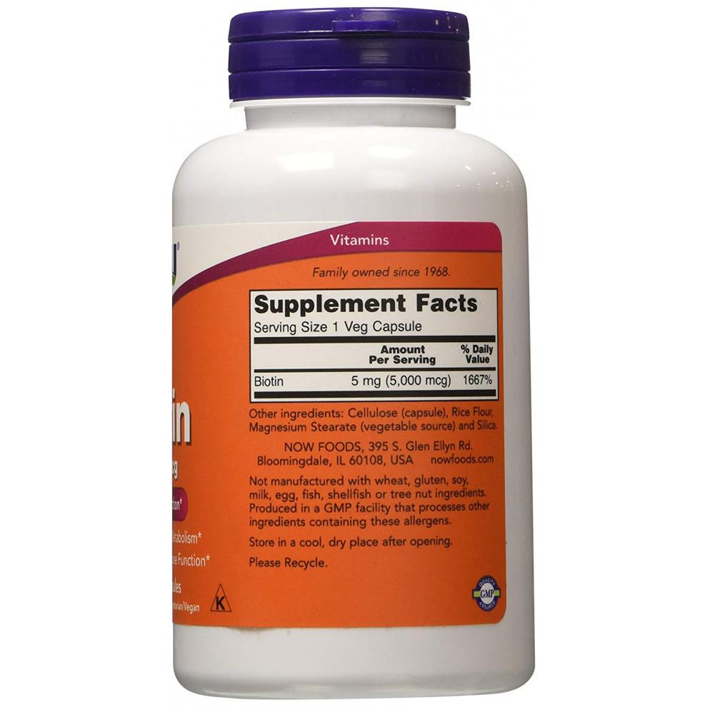 Биотин, Now Foods, Biotin, 5000 мкг, 60 капсул