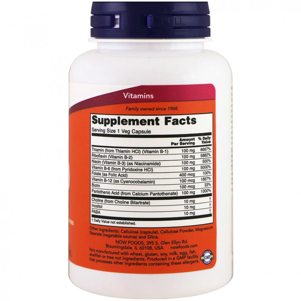 Комплекс витаминов В, Now Foods, B-100, 100 капсул