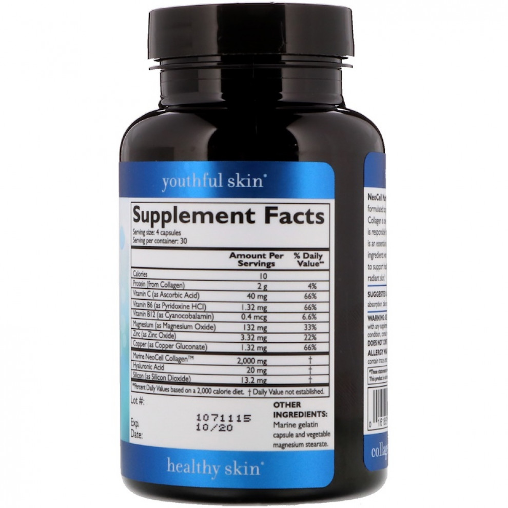 Морський колаген + гіалуронова кислота, типи 1 і 2, Neocell, Marine collagen, 2000 мг, 120 капсул