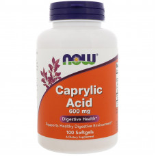 Каприлова кислота, Now Foods, Caprylic acid, 600 мг, 100 капсул