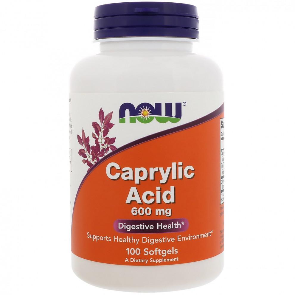 Каприлова кислота, Now Foods, Caprylic acid, 600 мг, 100 капсул
