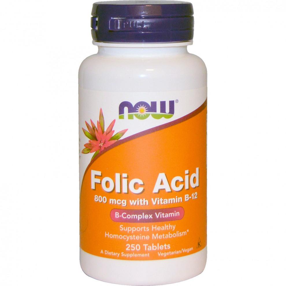 Фолиевая кислота + В12 Now Foods, Folic Acid + B12, 800 мкг, 250 таблеток