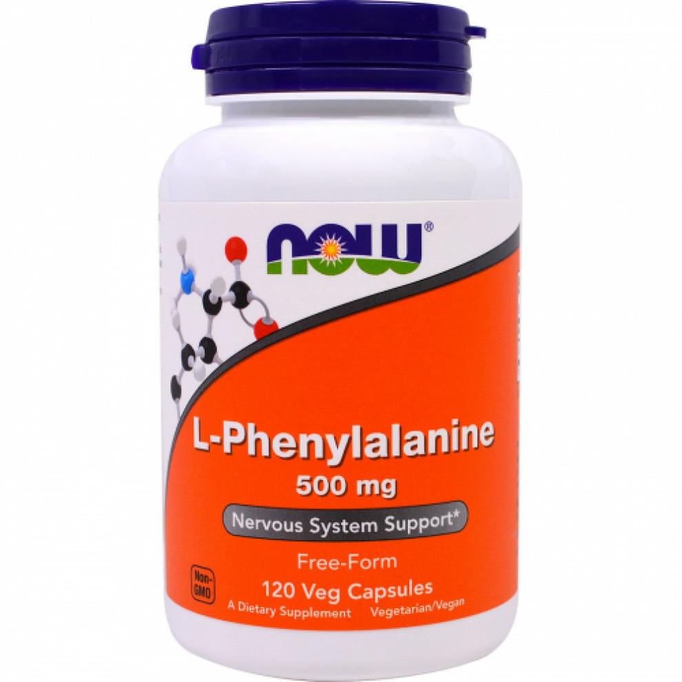 L-фенілаланін, Now Foods, L-Phenylalanine, 500 мг, 120 капсул