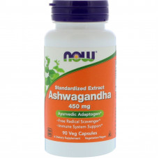 Ашваганда, Ashwagandha, Now Foods, 450 мг, 90 капсул
