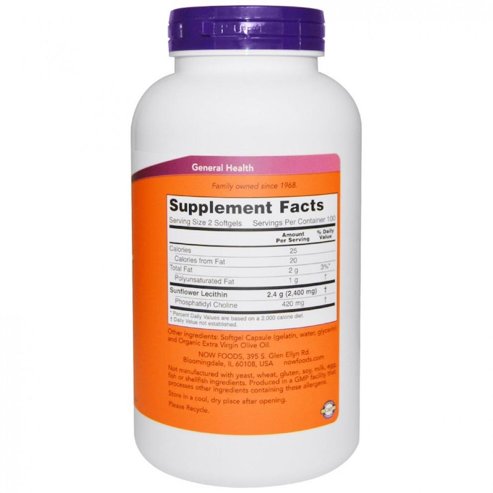 Соняшниковий лецитин, Now Foods, Sunflower Lecithin, 1200 мг, 200 капсул