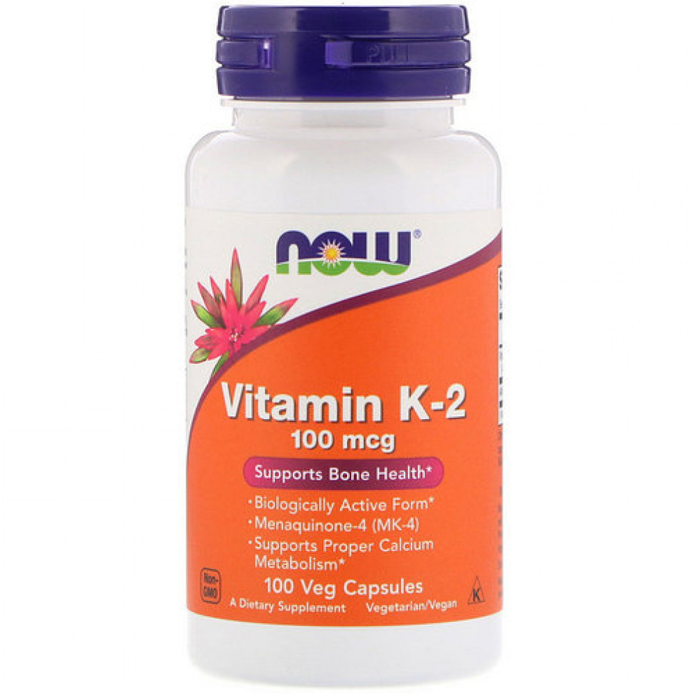 Вітамін К-2, Now Foods, Vitamin K-2, 100 мкг, 100 капсул