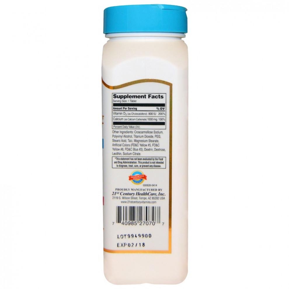 Кальций + D3, 21st century, Calcium + D3, 1000 мг + 800 IU, 90 таблеток