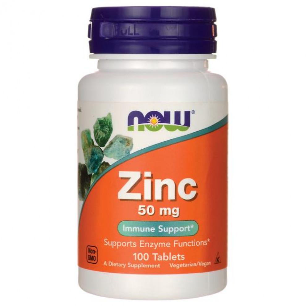 Цинк, Now Foods, Zinc, 50 мг, 100 таблеток