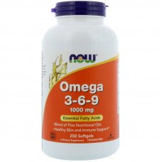 Омега 3-6-9, Now Foods, Omega 3-6-9, 1000 мг, 250 капсул