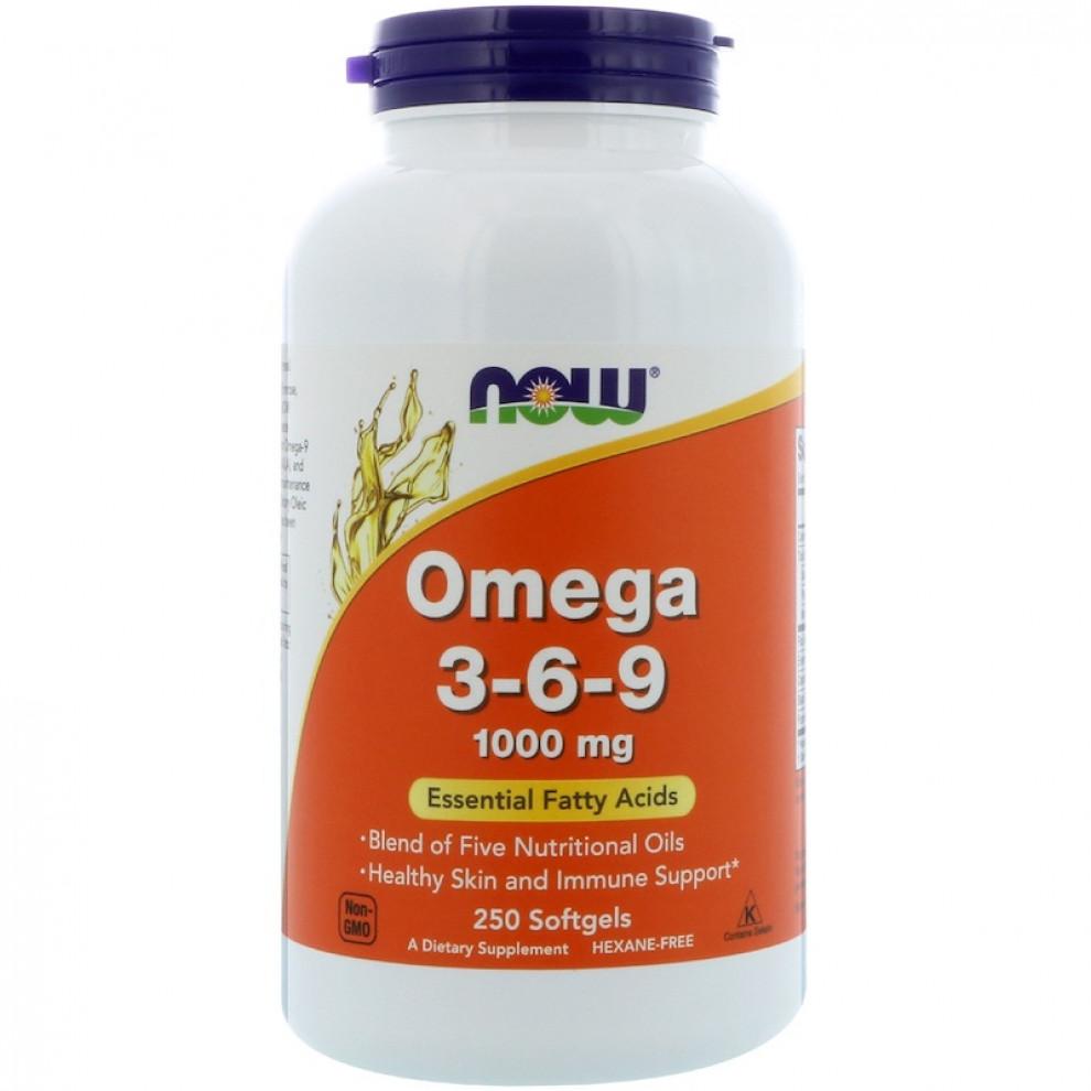 Омега 3-6-9, Now Foods, Omega 3-6-9, 1000 мг, 250 капсул