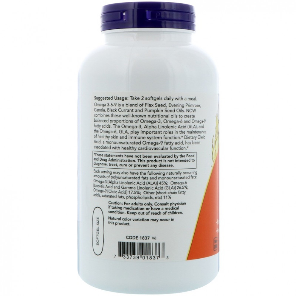 Омега 3-6-9, Now Foods, Omega 3-6-9, 1200 мг, 180 капсул