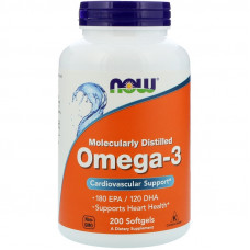 Омега-3, Now Foods, Omega-3, 2000 мг, 200 капсул