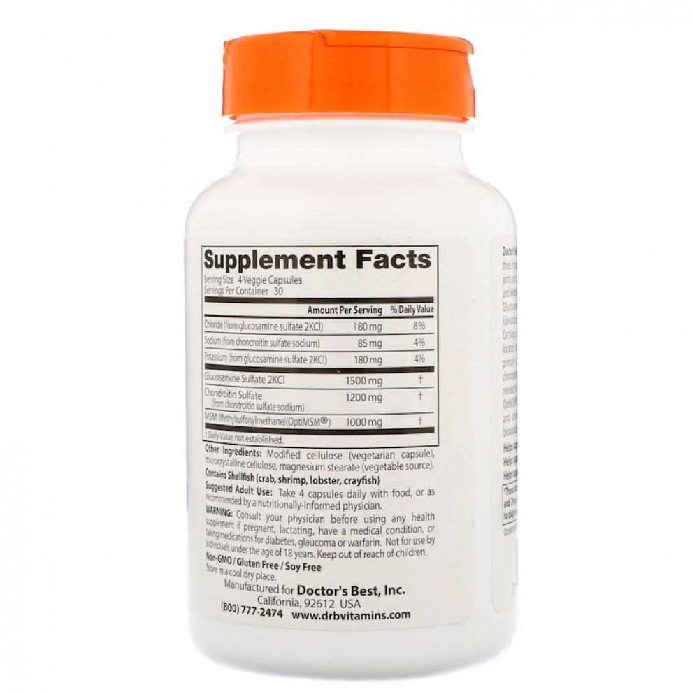 Хондроитин МСМ, Doctor's Best, Glucosamine Chondroitin MSM, 120 капсул