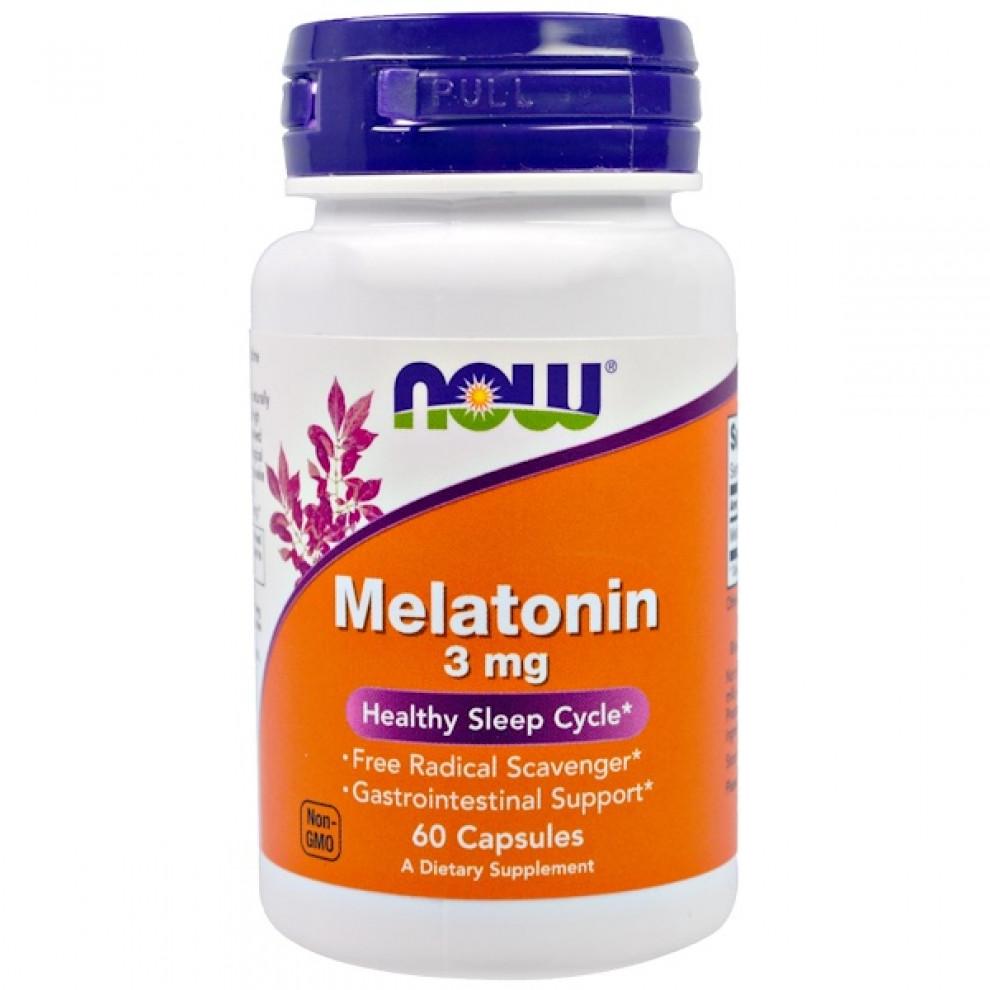Мелатонин, Now Foods, Melatonin, 3 мг, 60 капсул