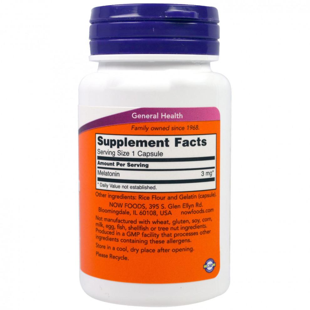 Мелатонін, Now Foods, Melatonin, 3 мг, 60 капсул