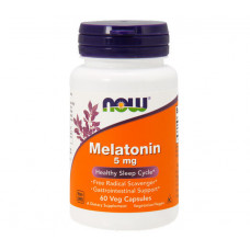 Мелатонін, Now Foods, Melatonin, 5 мг, 60 капсул