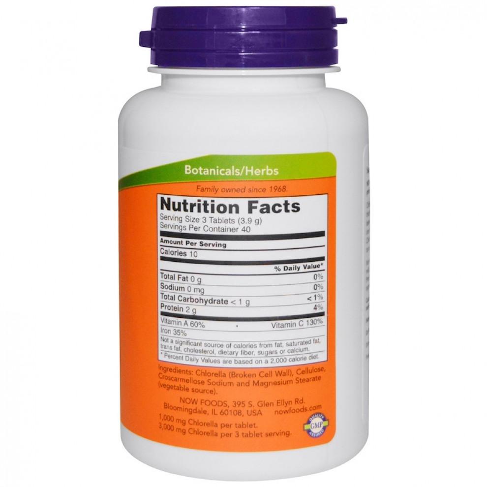 Хлорела сертифікована органічна, Now Foods, Chlorella, 500 мг, 200 таблеток