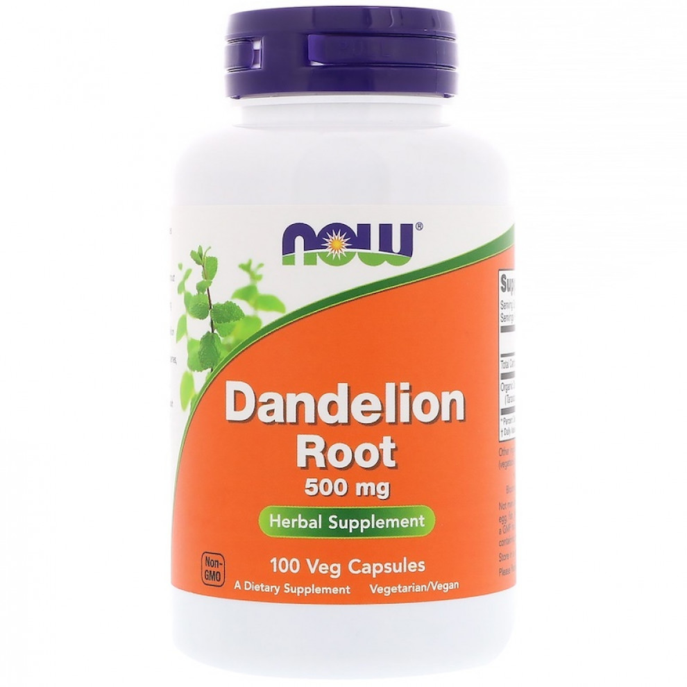 Корень одуванчика, Now Foods, Dandelion Root, 500 мг, 100 капсул