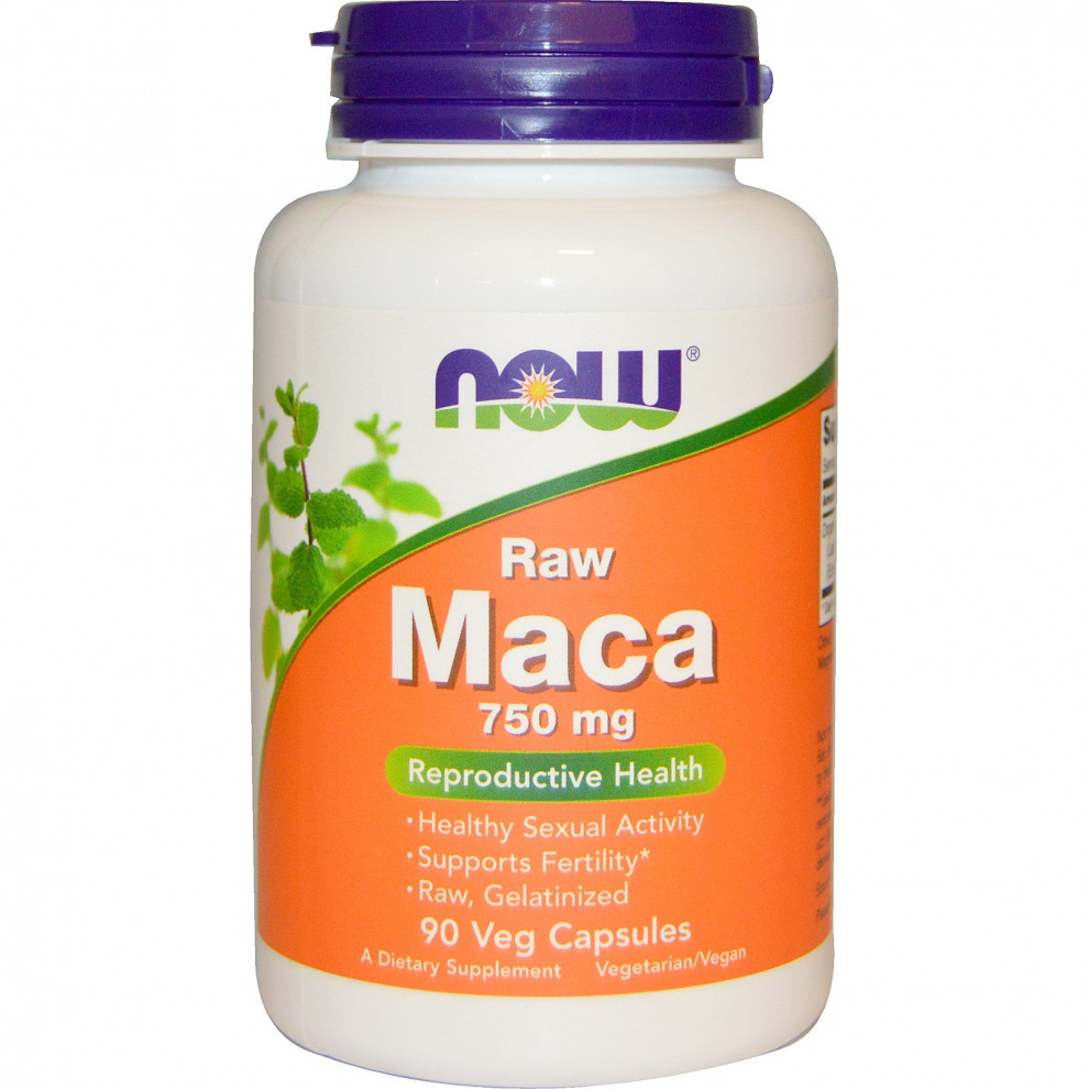 Мака сырая, Now Foods, Raw Maca, 750 мг, 90 капсул