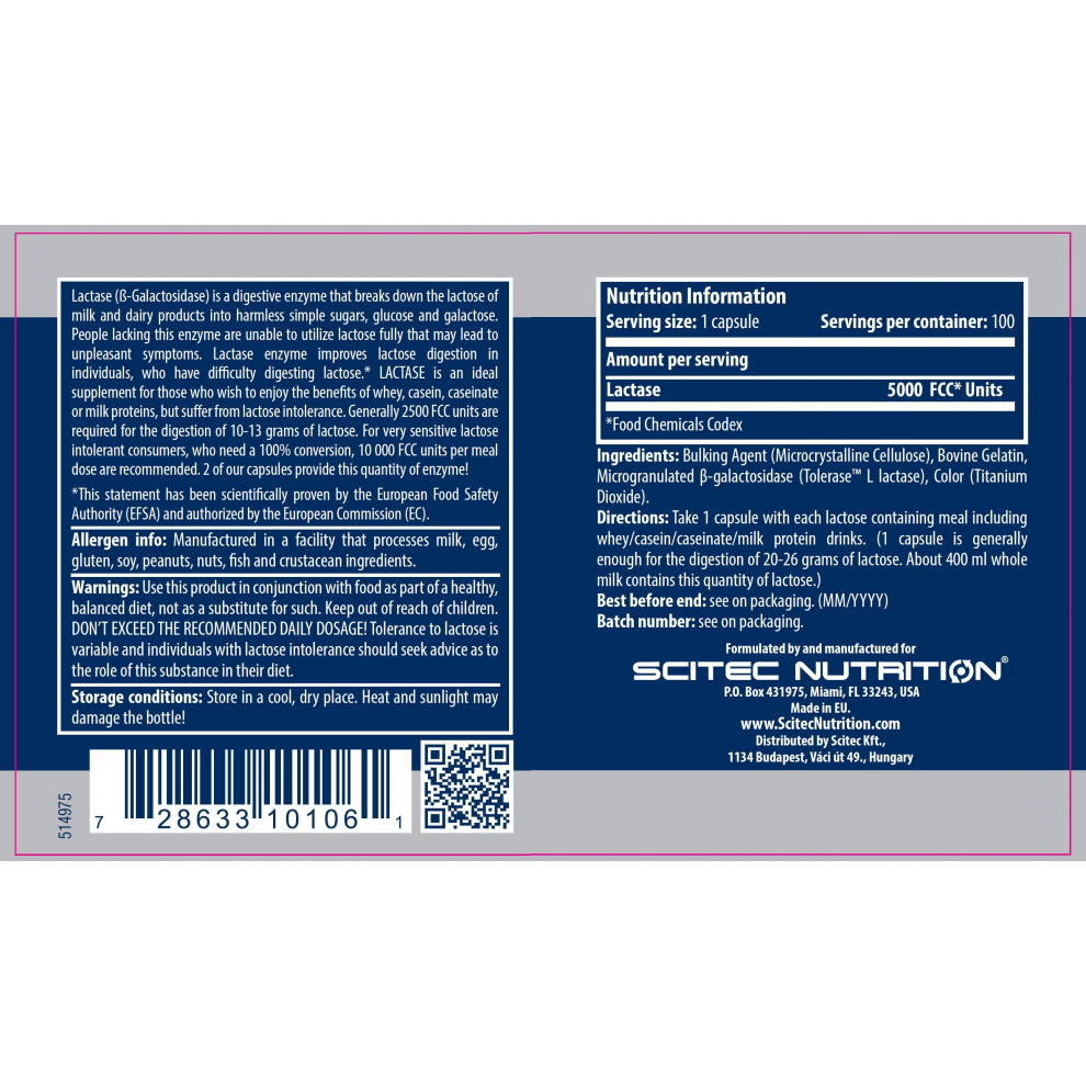 Энзим для лактозы, Scitec Nutriton, Lactase Enzyme, 100 капсул