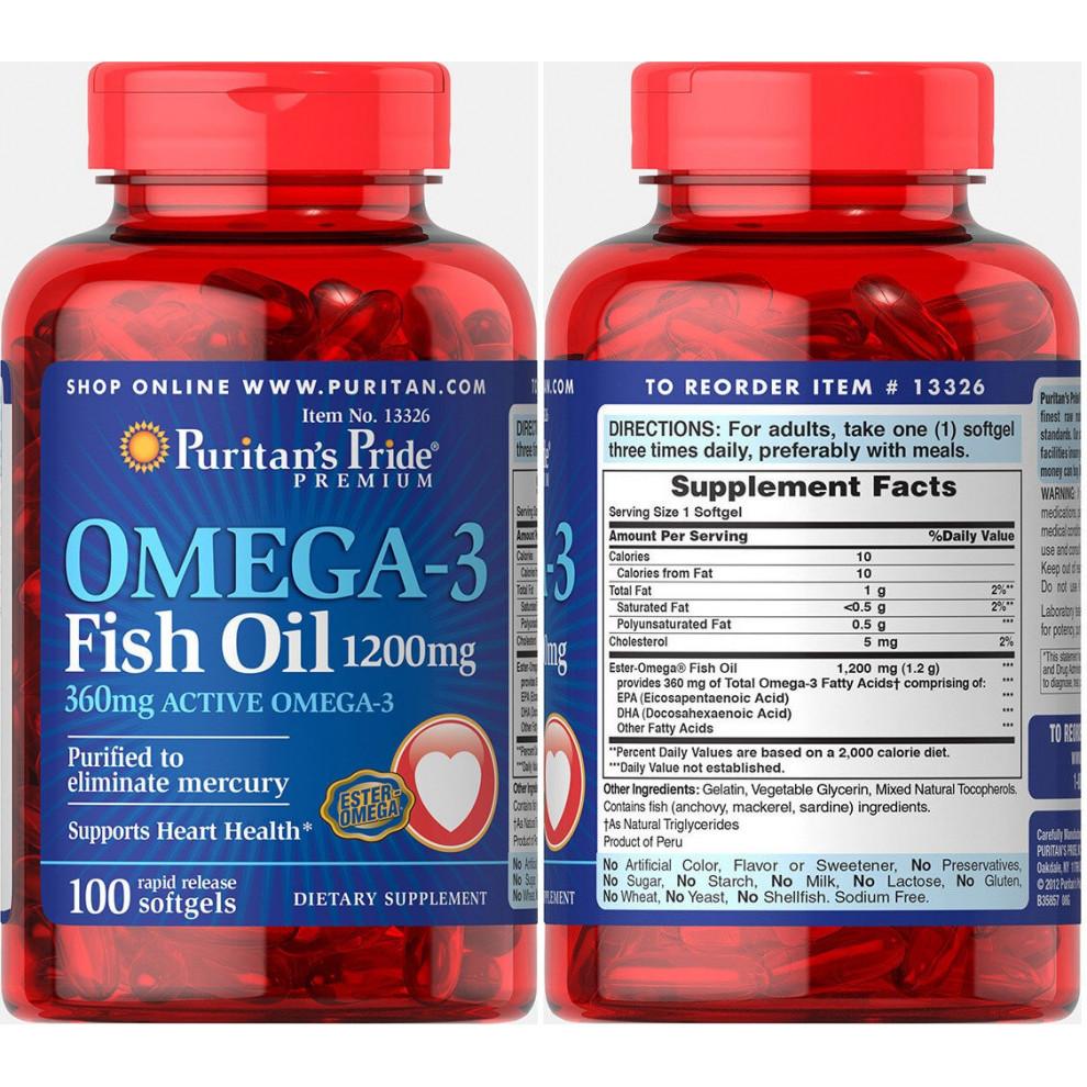 Омега-3, Puritan`s Pride, Omega-3, 1200 мг, 100 капсул