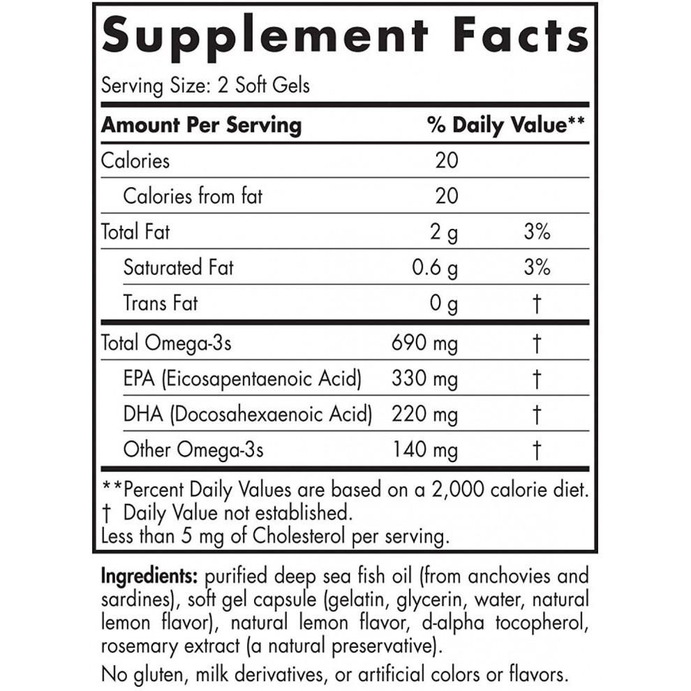 Омега-3 со вкусом лимона, Nordic Naturals, Ultimate Omega, 690 мг, 60 капсул