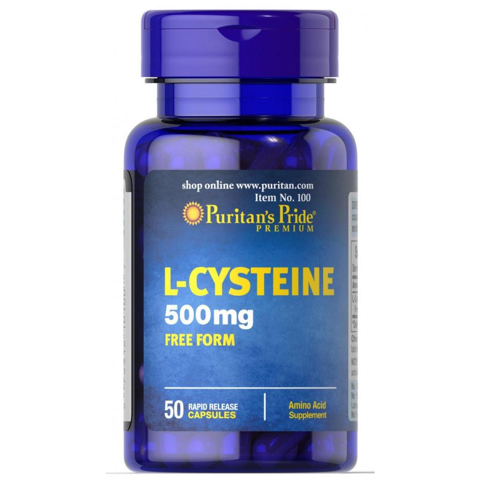 L-Цистеин, Puritan's Pride, L-Cysteine, 500 мг, 50 капсул