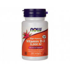 Витамин D-3, Now Foods, Vitamin D-3, 5000 IU, 240 капсул