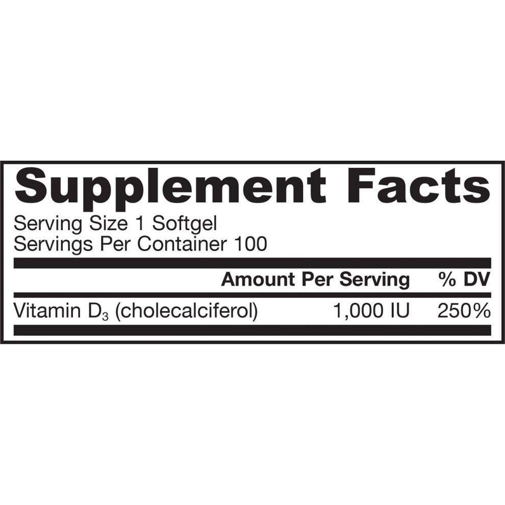 Вітамін D-3, Jarrow, Vitamin D-3, 1000 IU, 200 капсул