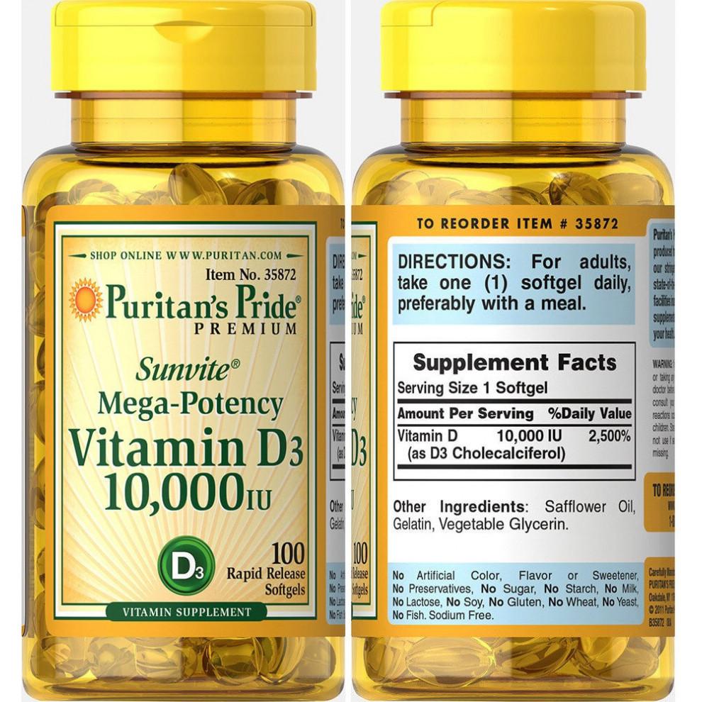 Витамин D-3, Puritan's Pride, Vitamin D-3, 10000 IU, 100 капсул